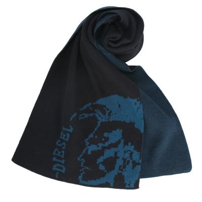 DIESEL 素面大龐克頭LOGO圍巾- 深藍