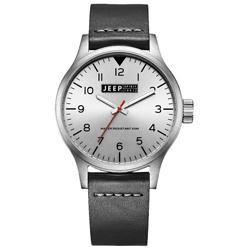 Jeep Spirit 美式派對美國復古風腕錶-銀X黑色/42mm