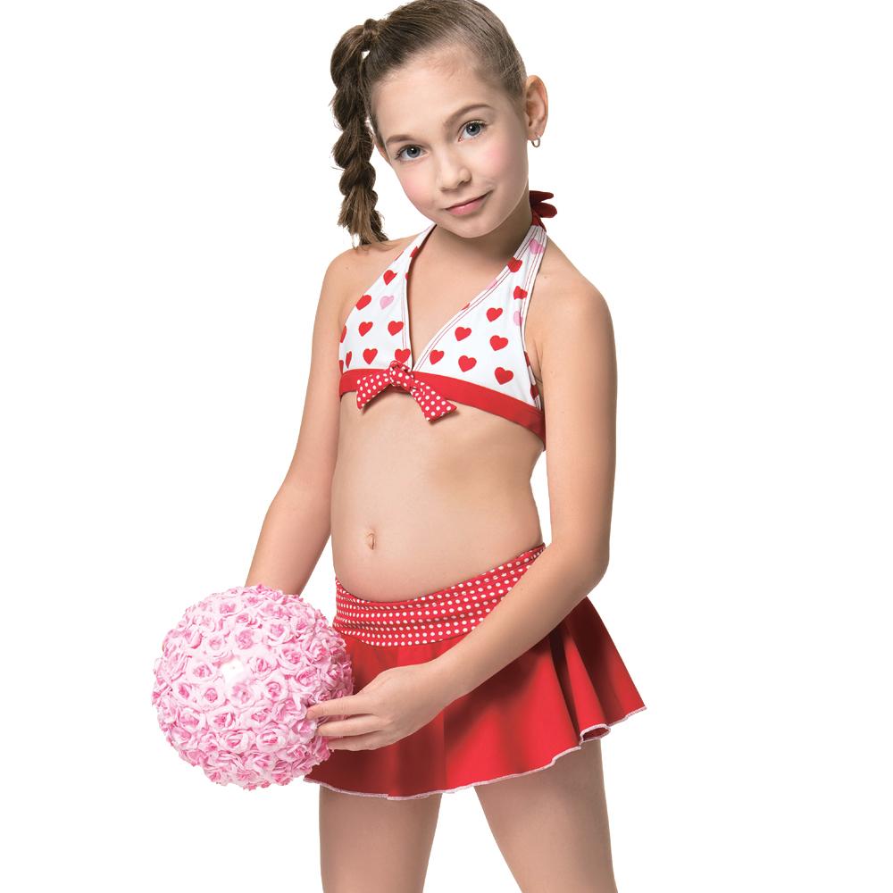 聖手牌 兒童泳裝 紅色兩件式比基尼女童泳裝