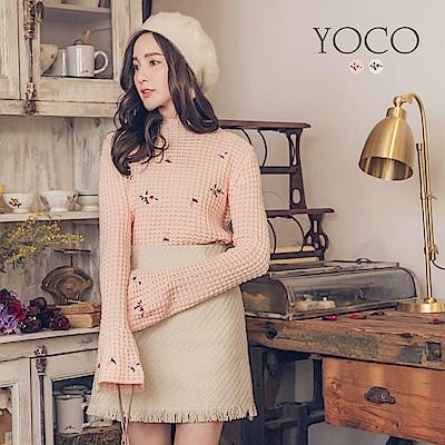 東京著衣-yoco 好感甜心小繡花喇叭袖粗針織上衣-S.M.L(共二色)