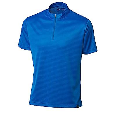 【HAKERS】男 半開襟抗UV排汗衫-寶藍-面條紋