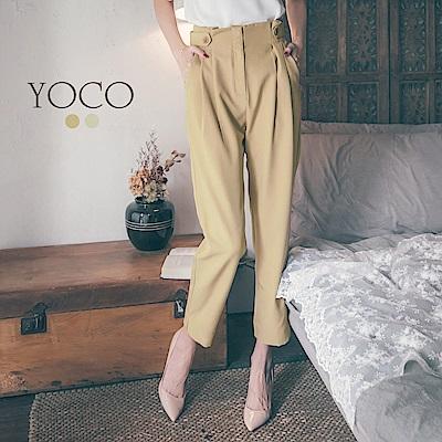 東京著衣-yoco 時髦百搭純色釦飾修身花苞老爺褲-S.M.L(共二色)