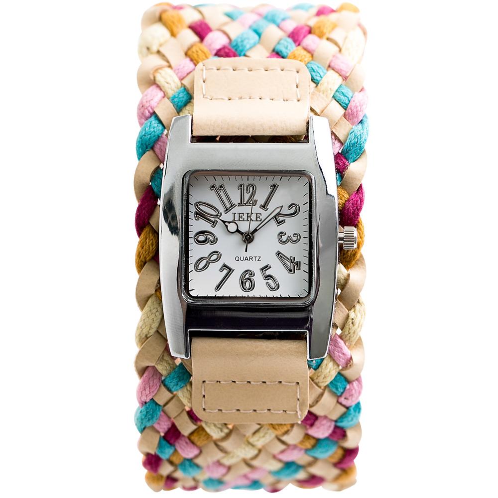 Watch-123 香草天空-波西米亞風寬版編織多彩腕錶-42x30mm