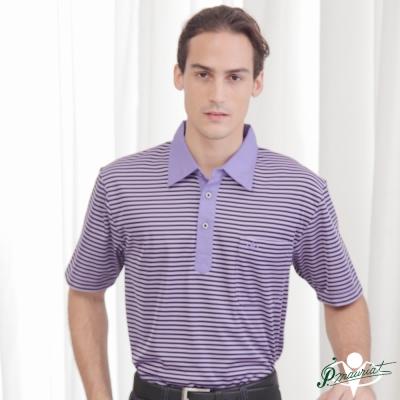 PAUL MAURIAT波爾.瑪亞吸溼排汗短袖POLO衫-紫橫紋