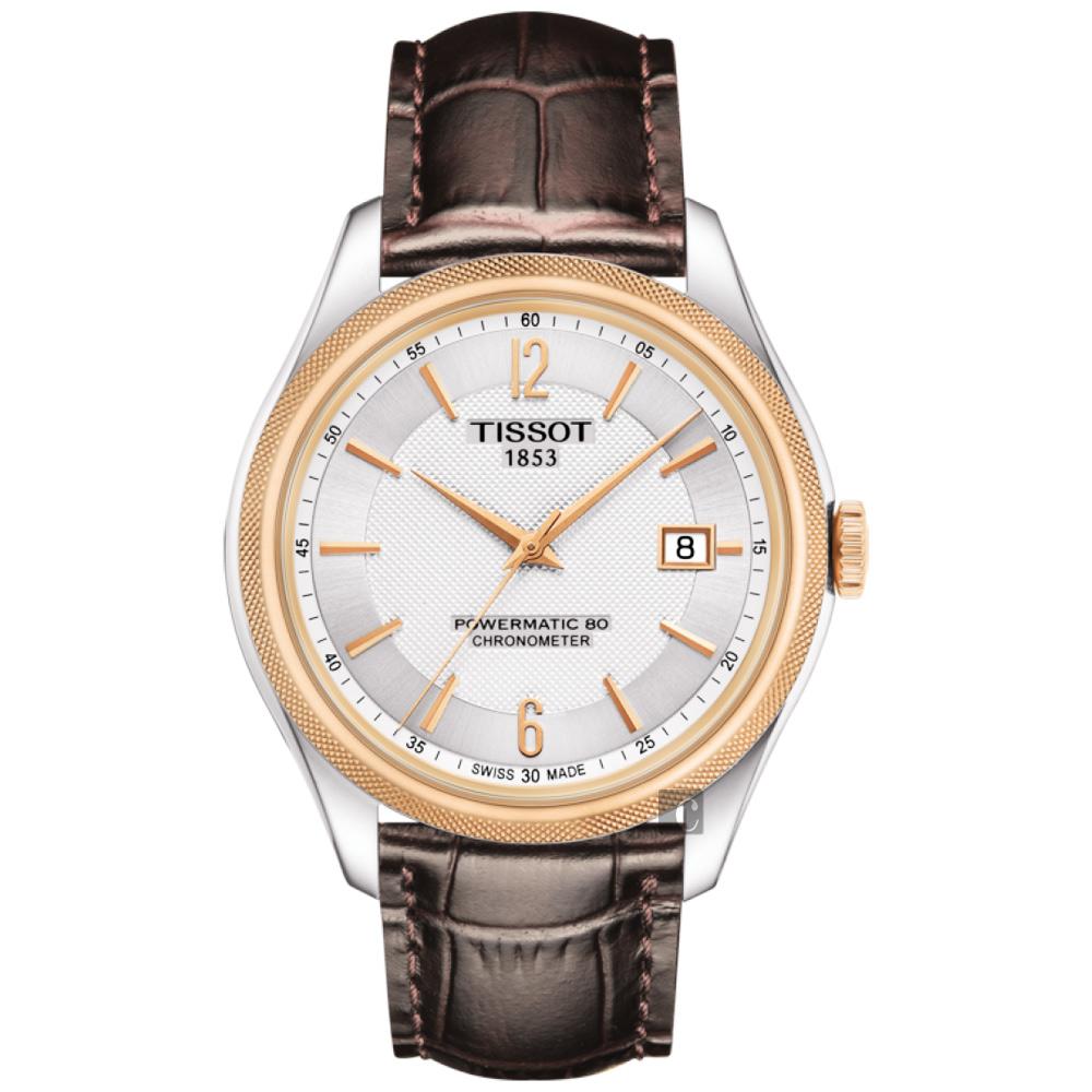 TISSOT天梭 Ballade COSC 80小時矽游絲機械腕錶-銀x咖啡 T1084082603700