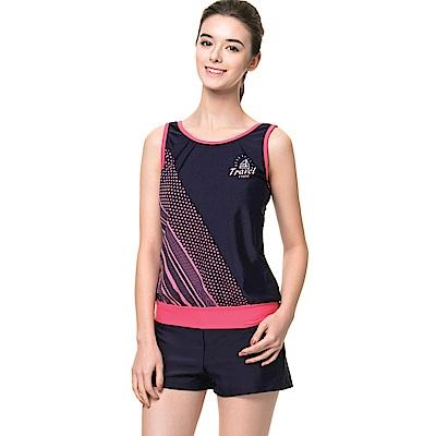 聖手牌 泳裝 粉紅橫條兩件式女泳裝