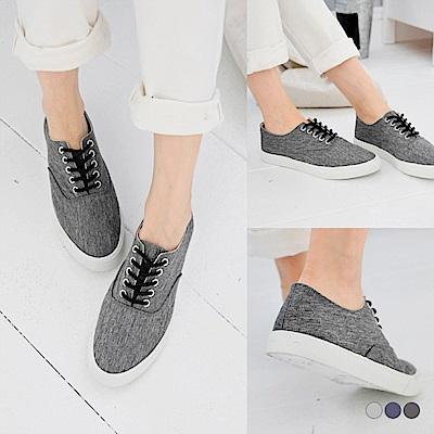 台灣製造~混色織紋簡約百搭帆布鞋.3色-OB大尺碼
