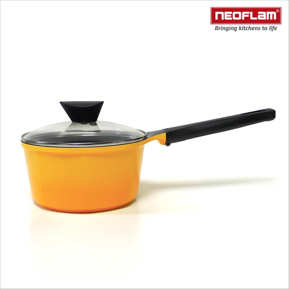 韓國NEOFLAM Venn系列 18cm陶瓷不沾單柄湯鍋+玻璃鍋蓋