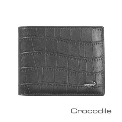 Crocodile 經典鱷魚壓紋短夾-中翻固定式子夾 0103-4002