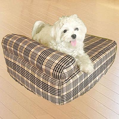 凱蕾絲帝-大中型寵物專用獨立筒彈簧床墊+英倫橘單枕床包-120*60*11CM