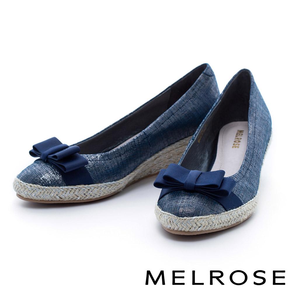MELROSE 織帶蝴蝶結羊皮麻編楔型高跟鞋-藍