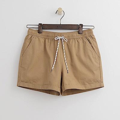 Hang Ten - 女裝 - 打摺純色休閒短褲-卡其色