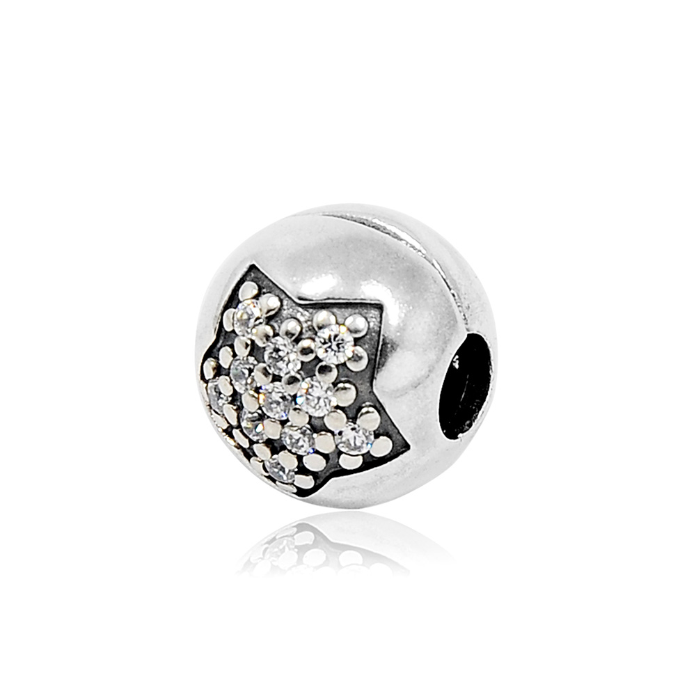 Pandora 潘朵拉 星星水鑽 純銀固定扣