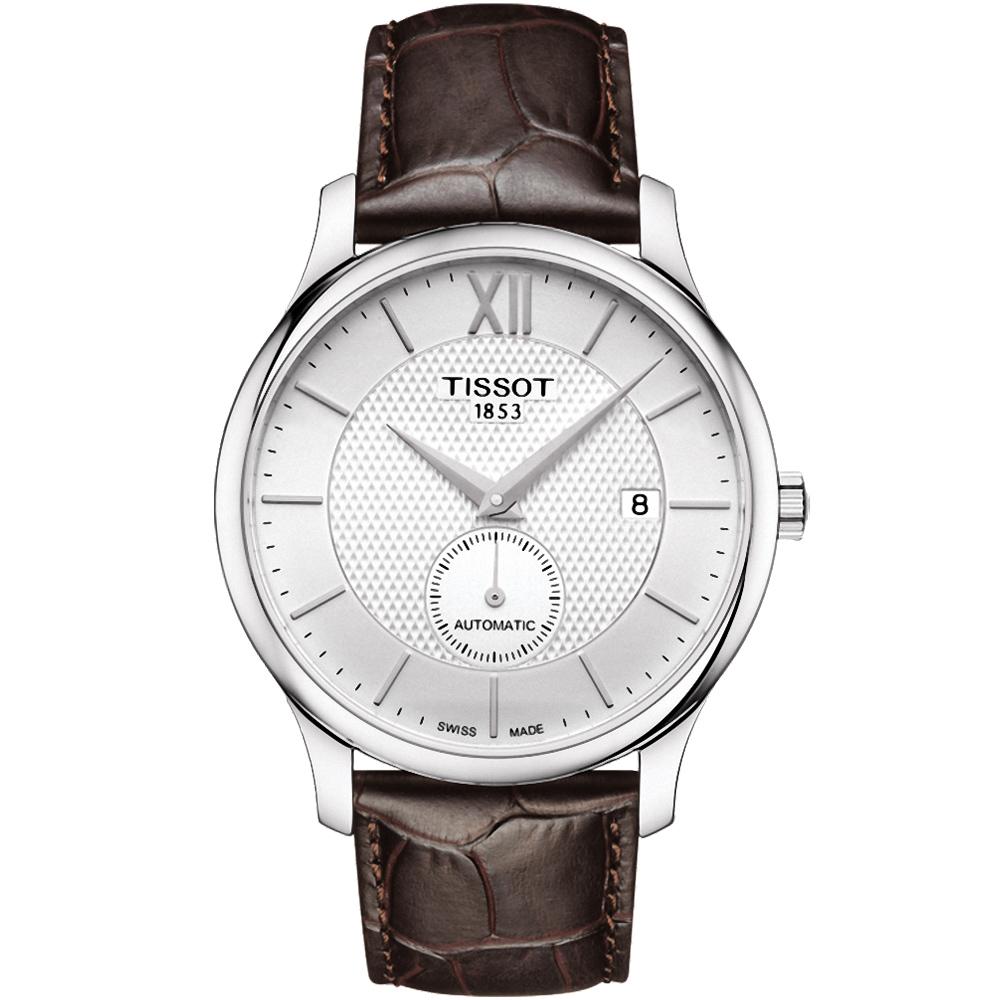 TISSOT 天梭Trandition 小秒圈時尚機械錶-銀x咖啡/40mm
