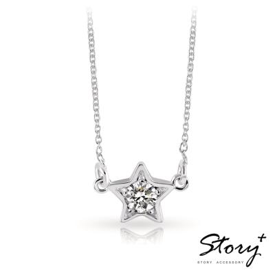 STORY故事銀飾-點點星光-純銀誕生石項鍊(白K金)