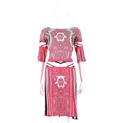 CLASS roberto cavalli 橘紅色拼接圖騰印花七分袖洋裝