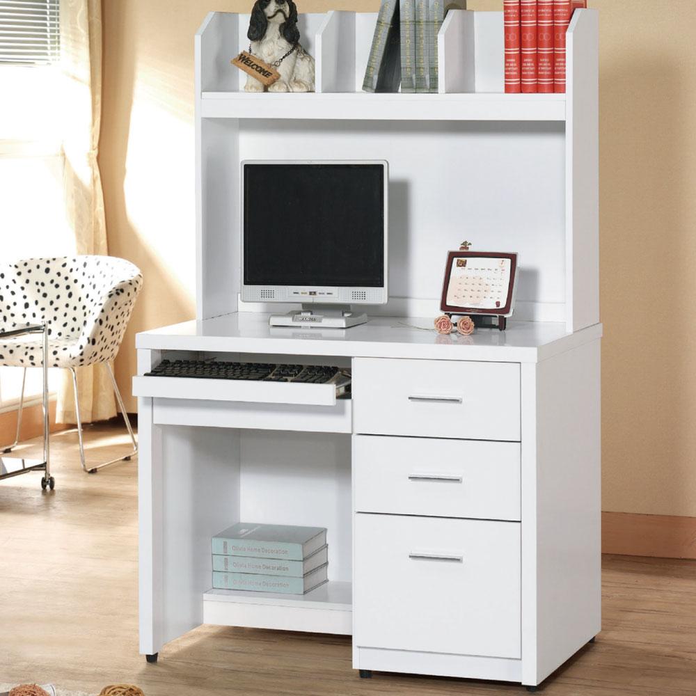 品家居 學士3.2尺白色電腦書桌組合(上+下)