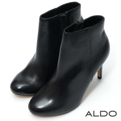 ALDO 原色真皮內側拉鍊細高跟短踝靴~尊爵黑色