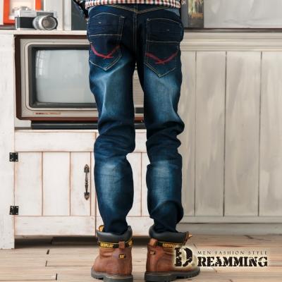Dreamming 潮款口袋刷色顯瘦單寧小直筒褲