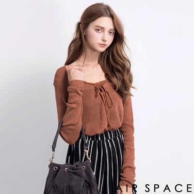 AIR-SPACE-甜美綁帶薄針織上衣-咖啡