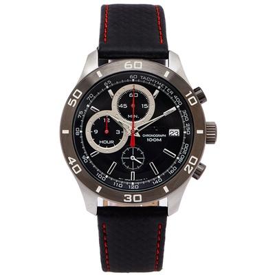 SEIKO 陽剛霸氣款計時皮革手錶(SSB193P1)-黑面x灰色框/42mm