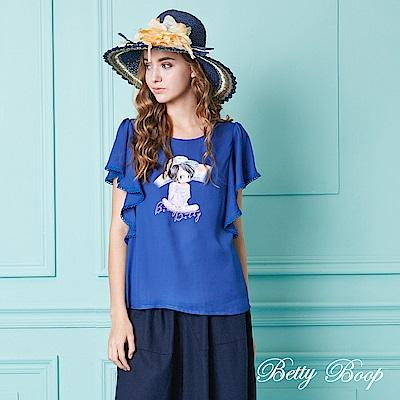 Betty Boop貝蒂 彩虹膠印荷葉袖雪紡上衣(共四色)