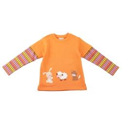 愛的世界 MYBEAR 圓領動物印圖假兩件長袖上衣/1-2歲-台灣製-