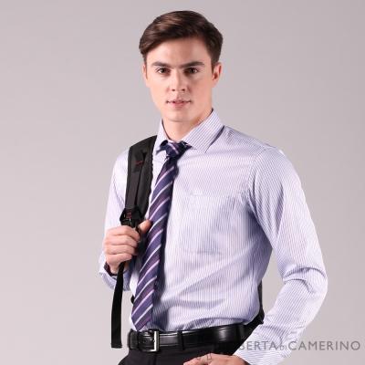 ROBERTA諾貝達 台灣製 合身版 商務都會 條紋優雅長袖襯衫 紫色