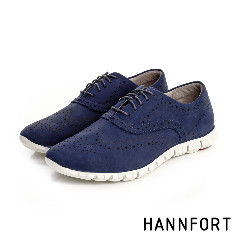 HANNFORT ZERO GRAVITY輕舞牛津翼紋雕花動能氣墊鞋-女-靛紫藍
