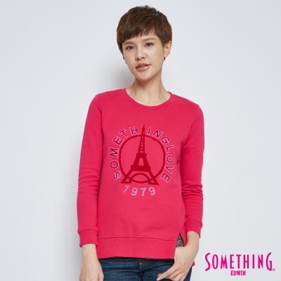 SOMETHING 下擺開叉巴黎鐵塔長袖T恤-女-桃紅