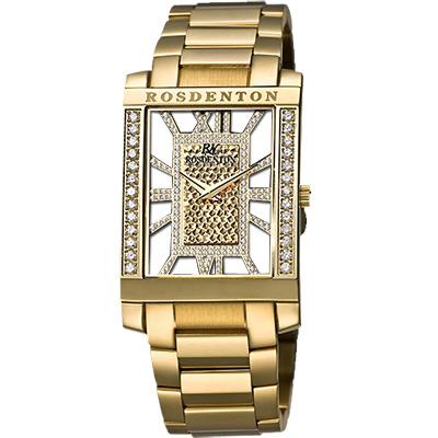 ROSDENTON 勞斯丹頓年度風雲華麗晶鑽時尚手錶-金/30mm