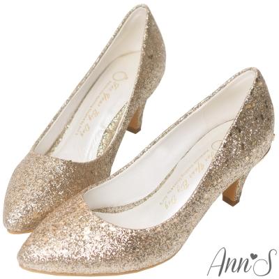 Ann'S華麗碎石後跟金立體小蝴蝶尖頭低跟包鞋-金