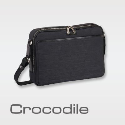 Crocodile Marvel布配皮系列橫式斜背包 0104-07604