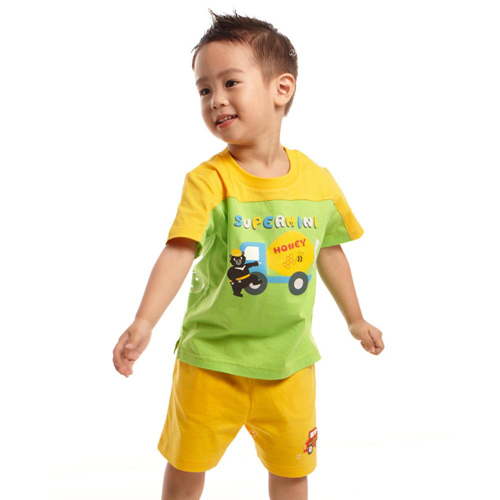 愛的世界 SUPERMINI 純棉短袖熊與車印圖套裝/6個月~2歲