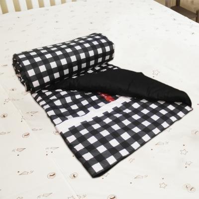 奶油獅-格紋系列-台灣製造-100%精梳純棉兩用鋪棉被套/四季被(黑)-雙人