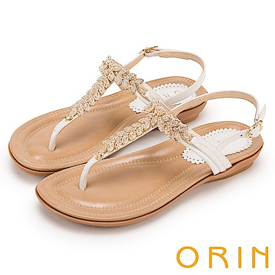 ORIN 耀眼時尚 葉子造型鑽飾牛皮夾腳涼鞋-白色