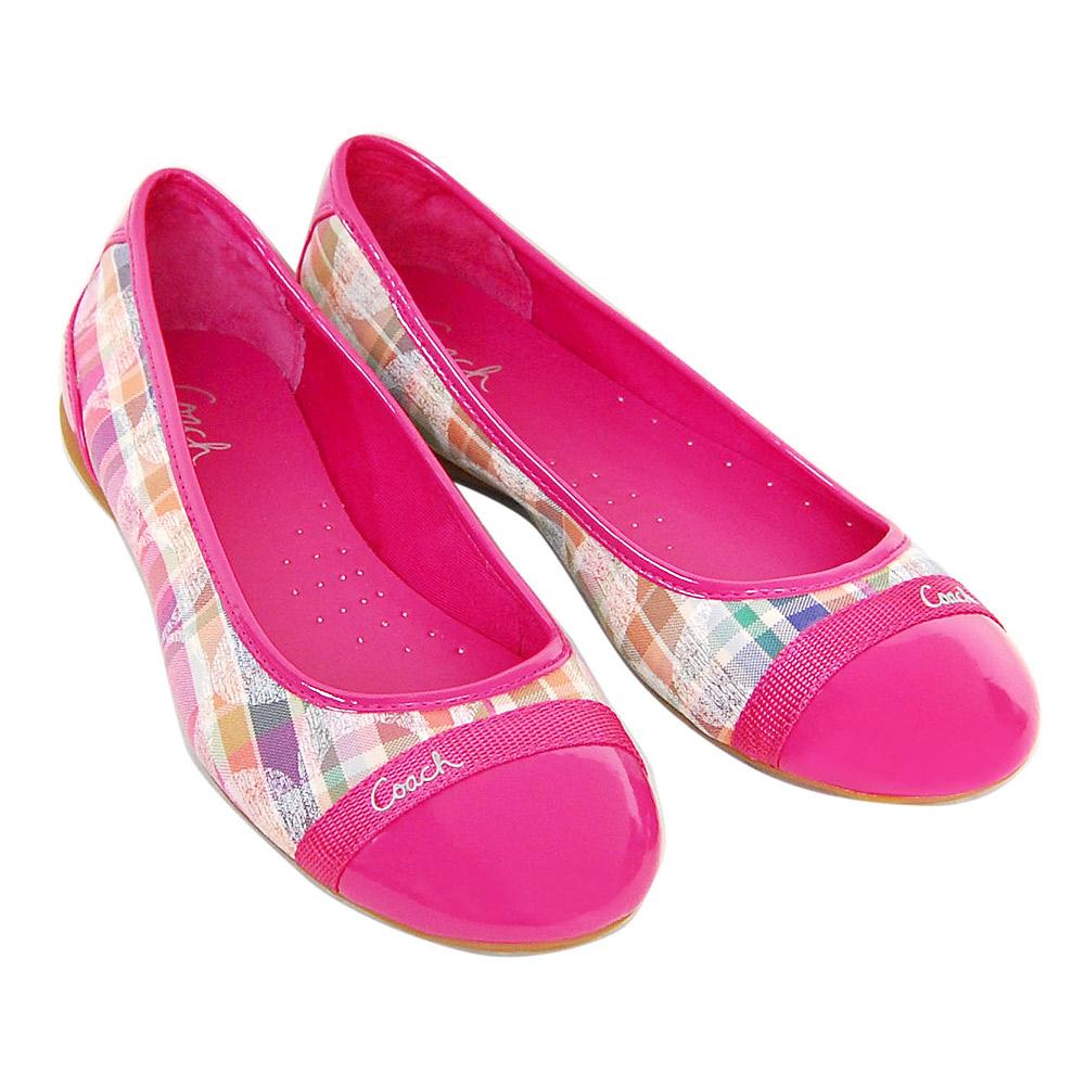 COACH 彩色格紋塗漆C Logo平底娃娃鞋