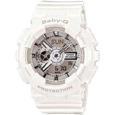 Baby-G 簡潔低調女錶-白(BA-110-7A3)-42mm