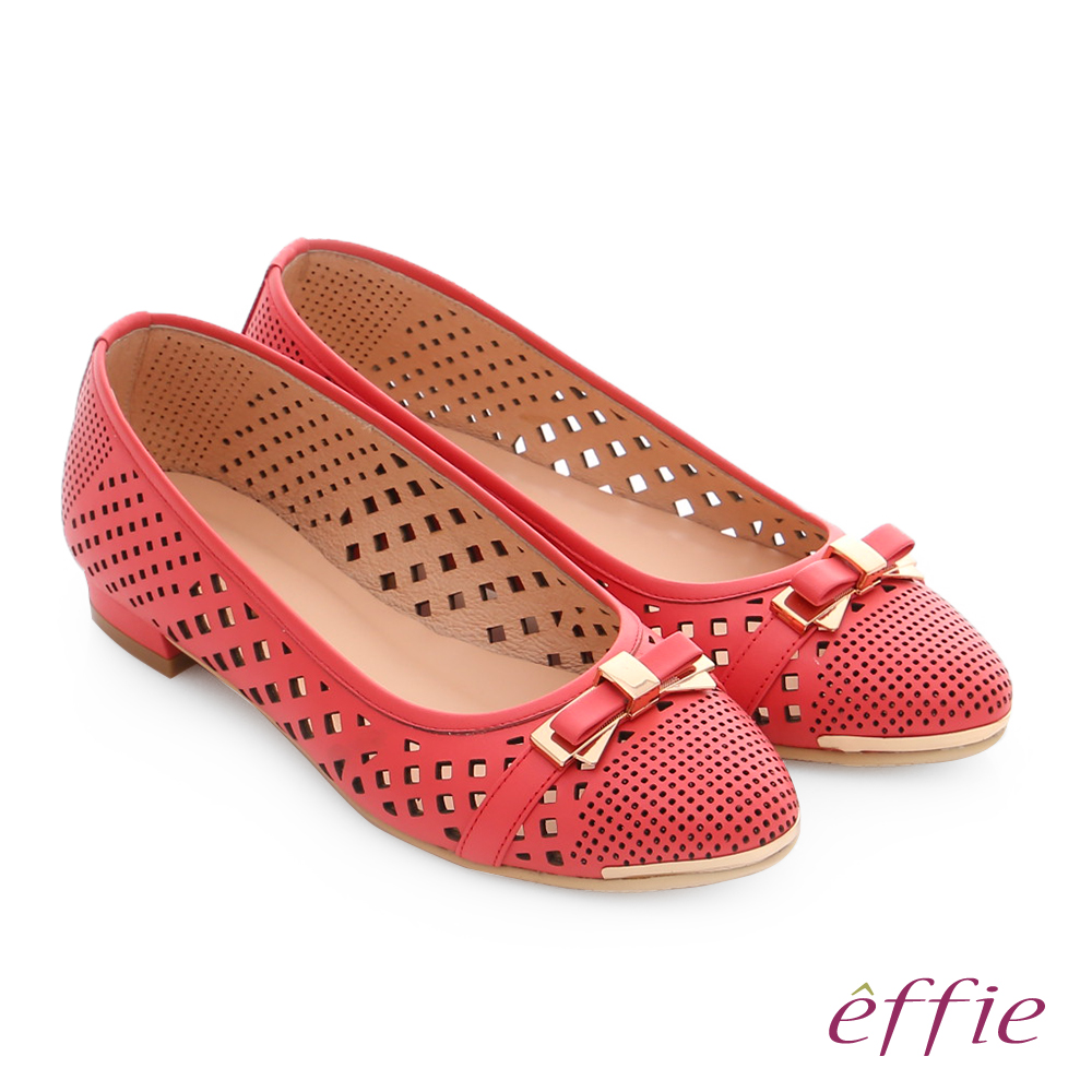 effie 輕甜自適 全真皮鏤空雕花蝴蝶結低跟鞋 橘紅色