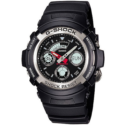 G-SHOCK 衝鋒戰士運動概念錶(AW- 590 - 1 A)-黑x銀框/ 46 mm