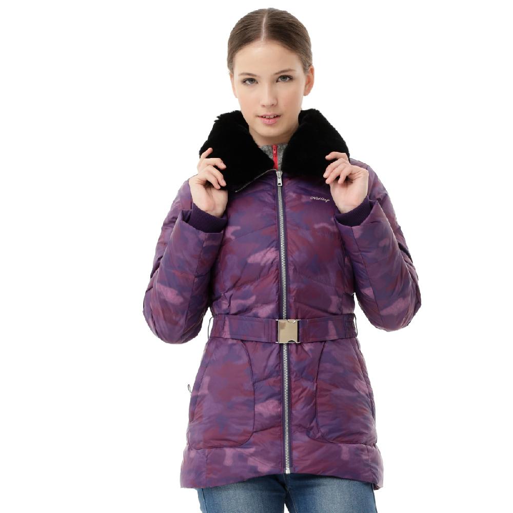 【hilltop山頂鳥】女款超撥水蓄熱羽絨迷彩外套F22FT1-紫