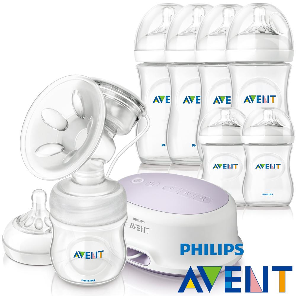 [61折]PHILIPS AVENT輕乳感PP單邊電動吸乳器+親乳感PP防脹奶瓶(125ml)