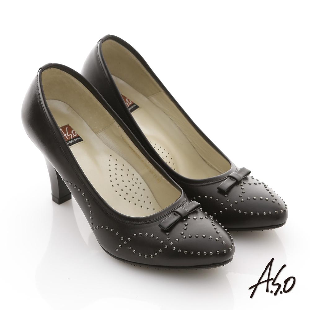 A.S.O 異國系列 全真皮結飾波浪紋鉚釘高跟鞋 黑