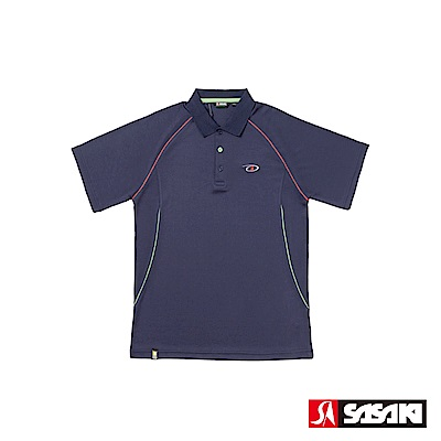 SASAKI 長效性吸濕排汗功能網球短衫-男-淺丈青/豔桔