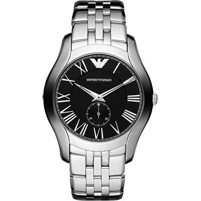 ARMANI 羅馬時尚小秒針腕錶-黑/鋼帶/43mm