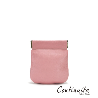 Continuita-康緹尼-MIT-頭層牛皮口袋零錢包-粉色