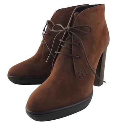 TODS 麂皮綁帶高跟短靴-36/36.5/37.5號(咖啡色)