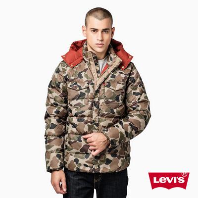 男款羽絨連帽外套-卡其迷彩-Levis-此商品僅供宅配
