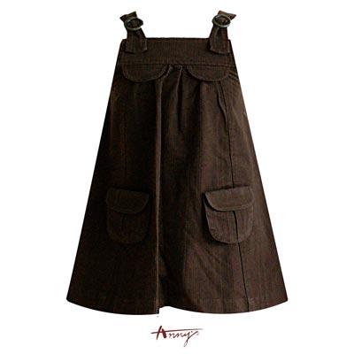 Anny素面雙口袋圓環造型吊帶裙*9410咖啡