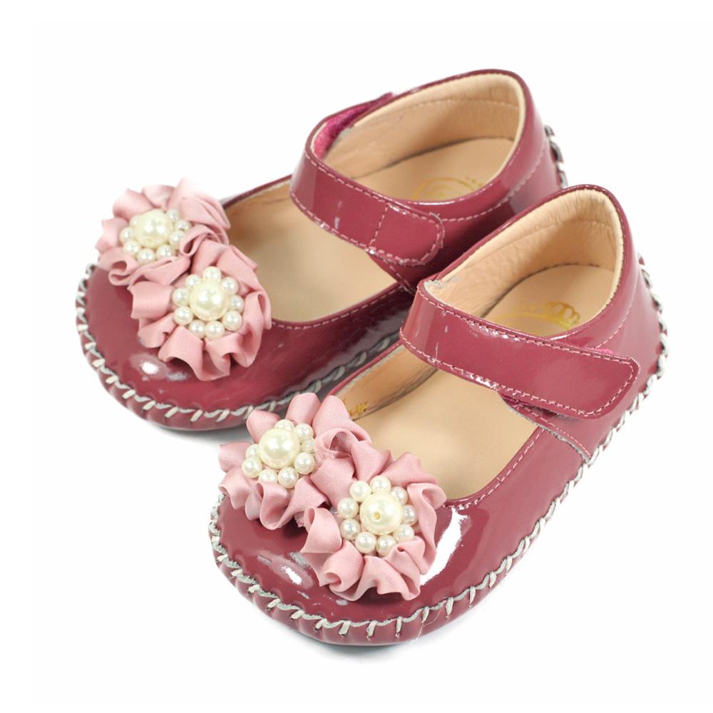 Swan天鵝童鞋-珍珠花朵漆皮寶寶學步鞋1562-紅